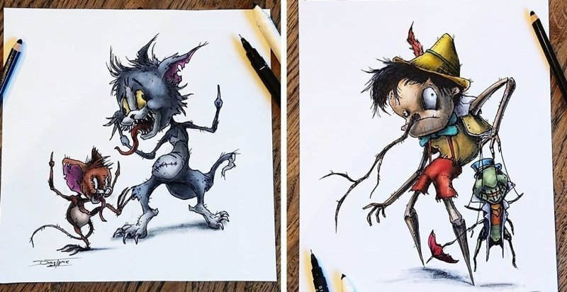 Художник изобразил любимых мультяшек в образе злобных монстров (21фото)