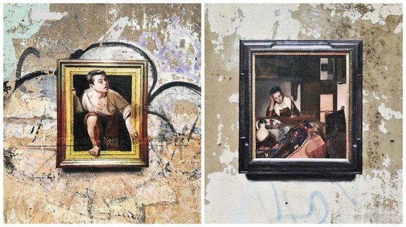 Оптическая иллюзия в стрит-арте: картины, которые не получится снять со стены (27фото)