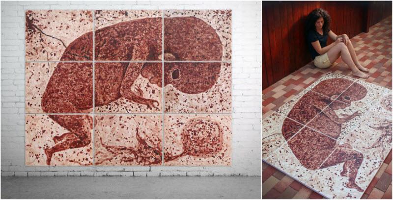 Румынская художница пишет свои картины менструальной кровью (13 фото)