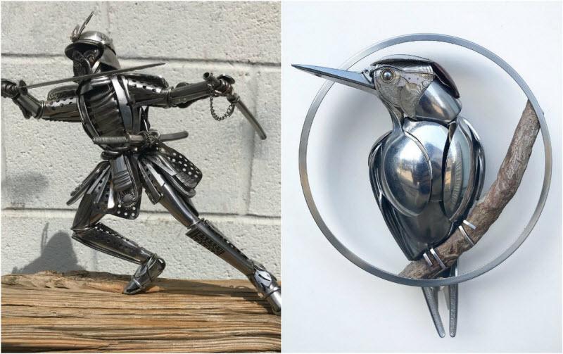 Американский художник создает удивительные скульптуры животных из старых столовых приборов (27 фото)