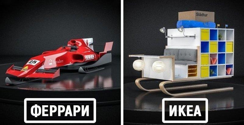 Дизайнеры представили, как выглядели бы сани Санта Клауса, будь они созданы под известными брендами (6фото)
