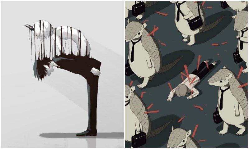 50 сильных иллюстраций японского художника о чувствах, которые трудно передать (51фото)
