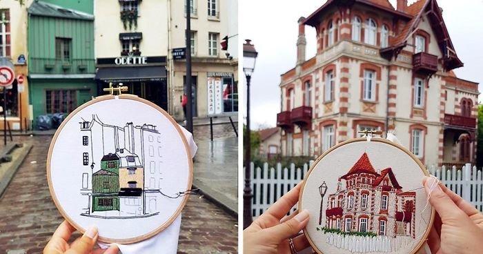 Путешествующая пара воссоздает архитектуру европейских городов с помощью очаровательной вышивки (30фото)