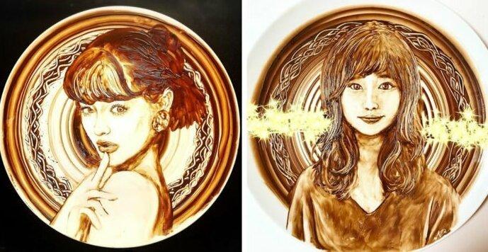 Вкусное искусство: талантливая художница рисует растопленным шоколадом (17фото)