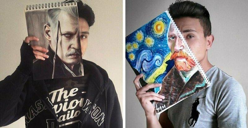 «Лицом к лицу с мечтой» — проект молодого художника, который объединился с известными персонажами (13фото)