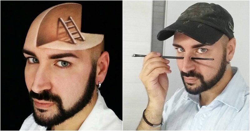 Что у парня с головой? Художник экспериментирует с лицом, создавая сюрреалистичные иллюзии (18фото)