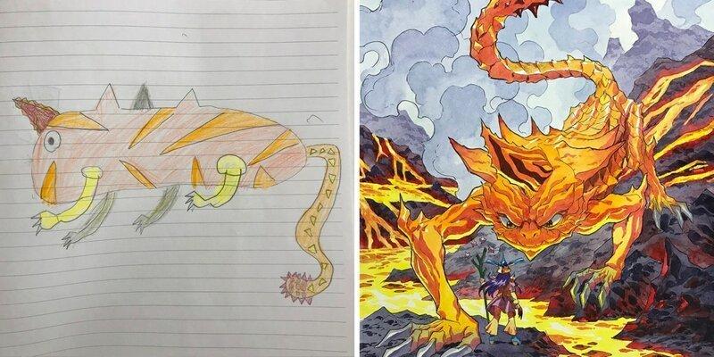 Художник превращает рисунки своих маленьких сыновей в профессиональные иллюстрации (15фото)