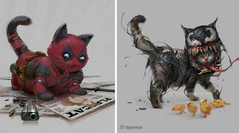 Художник изображает кошек в образах супергероев Marvel и DC Comics (7фото)
