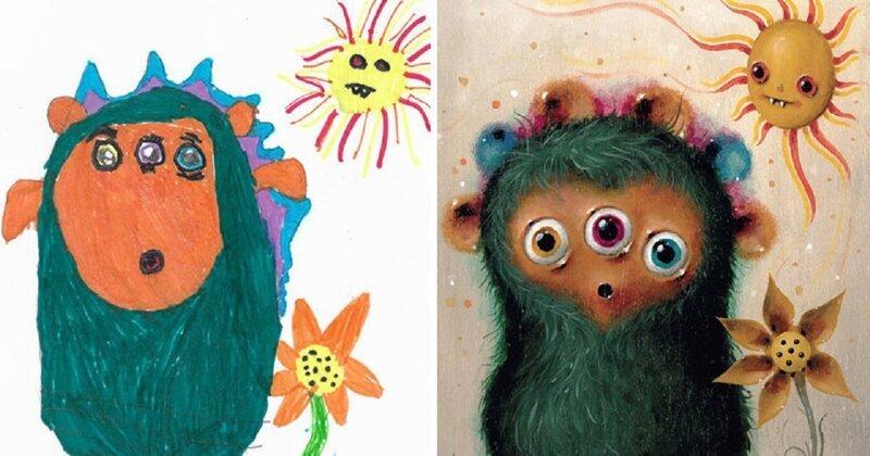 Монстромания: профессиональные художники превращают детские каракули в уникальные картины (51фото)