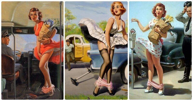 Картины с девушками в стиле пин-ап, на которых изображена одна повторяющаяся и пикантная деталь (15фото)