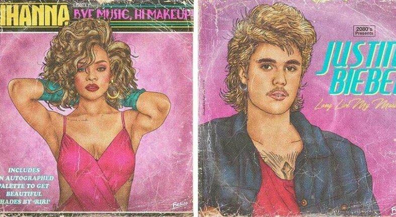Художник создаёт для современных артистов обложки альбомов в стиле 80-х (18фото)