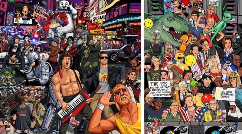 80-90-е годы в ностальгических картинках от британского художника (4фото)