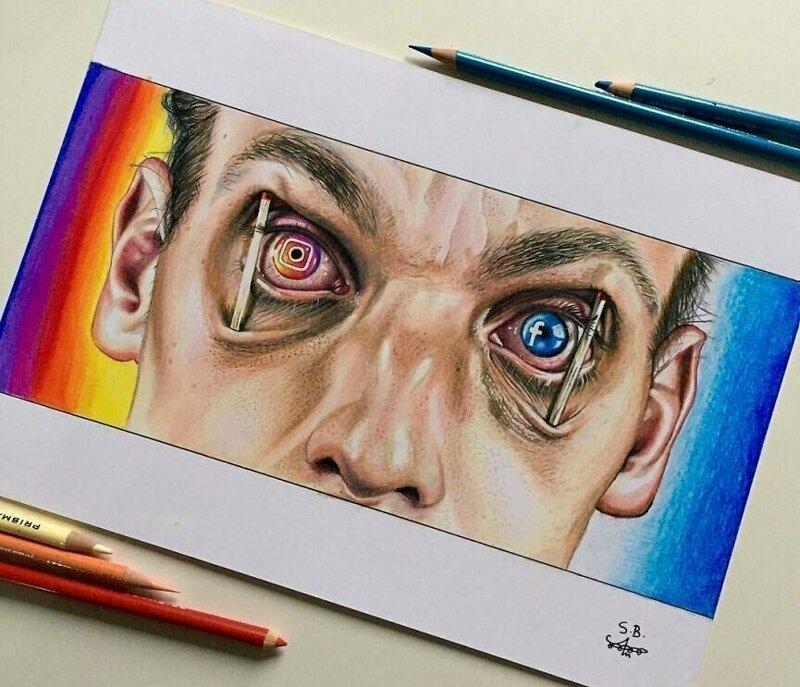 Художник делает невероятные иллюстрации, критикуя современное общество и его технологии (10фото)