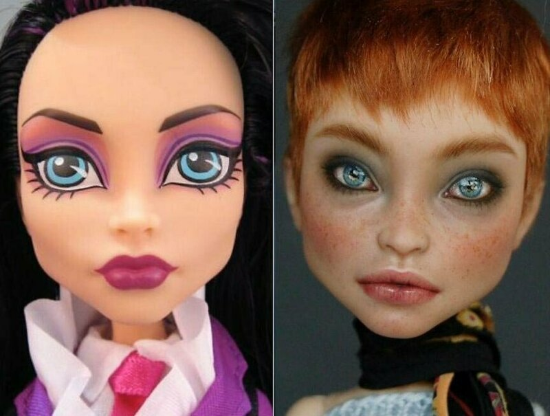 Художница «очеловечила» кукол с помощью макияжа (21фото)