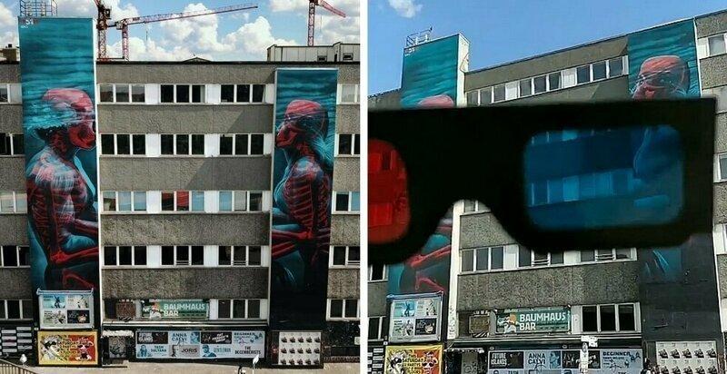 Стрит-арт: пара на стене превращается из людей в скелеты с помощью 3D-очков (33фото)