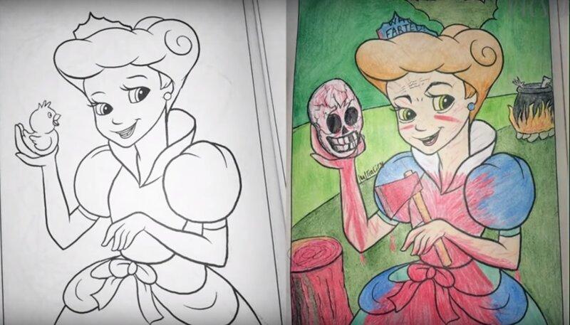 Что бывает когда взрослые добрались до детских раскрасок (9фото)