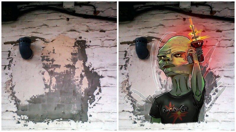 Художница рисует на обшарпанных стенах то, что подсказывает ей мозг (35фото)