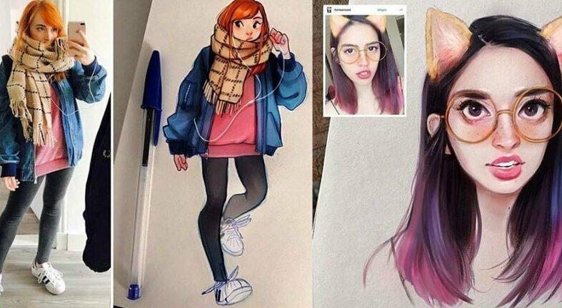 Голландская художница превращает себя и других людей в обаятельных мультяшек (18фото)