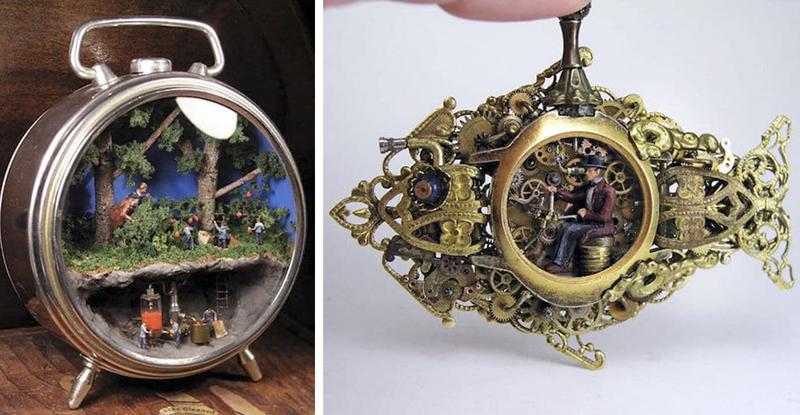 Художник создаёт внутри часов фантастические миниатюрные стимпанк миры (27фото)