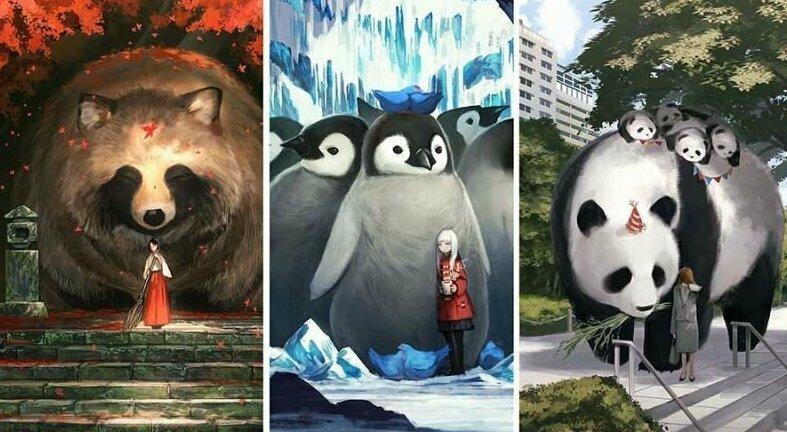 Художник из Японии создаёт картины с мирами, в которых обычные животные выглядят гигантами (41фото)