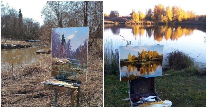 """""""Я художник, я так вижу"""": российский живописец показывает картины и виды, с которых они написаны (14фото)"""