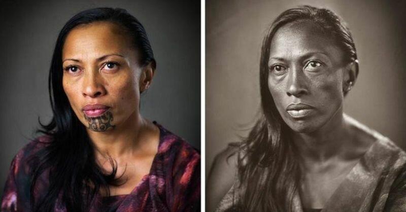 Фотограф показал, как выглядел бы коренной народ Новой Зеландии без своих татуировок (1фото+8тянучек)