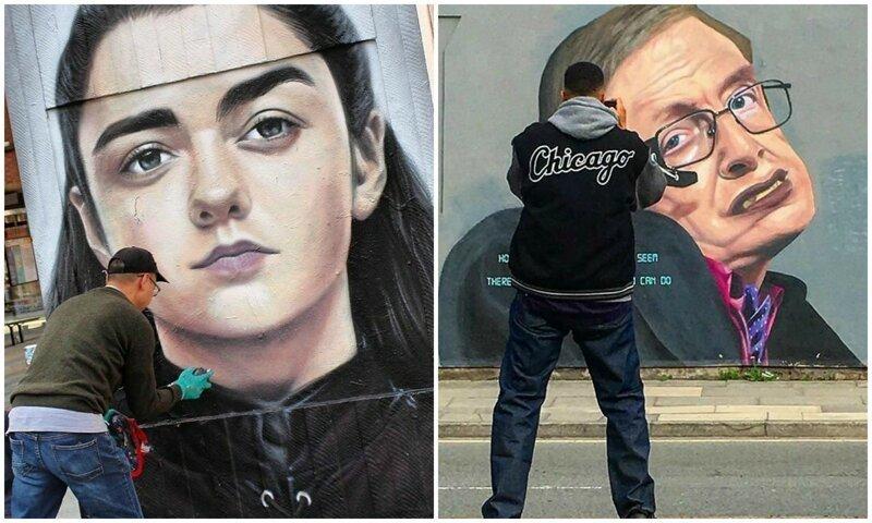 Гигантские граффити с портретами знаменитостей от Akse (35фото)