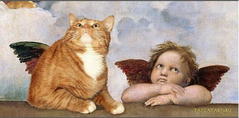 Любая картина становится краше, если добавить в нее толстого котика! (15фото)