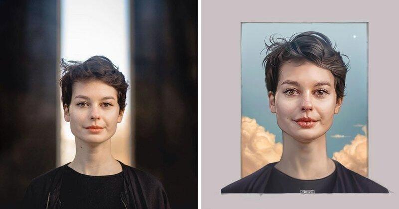 16 художников перерисовали портреты одного фотографа, показав, как по-разному они видят его работы (17фото)