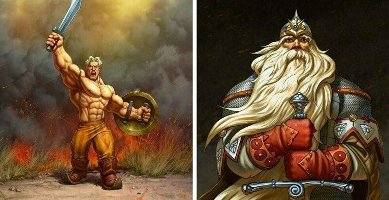 Художник из Барнаула представил русских богатырей в новых брутальных образах (13фото)