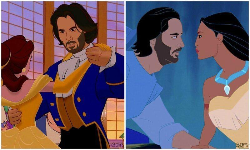 Киану Ривза представили в образе всех диснеевских принцев (11фото)