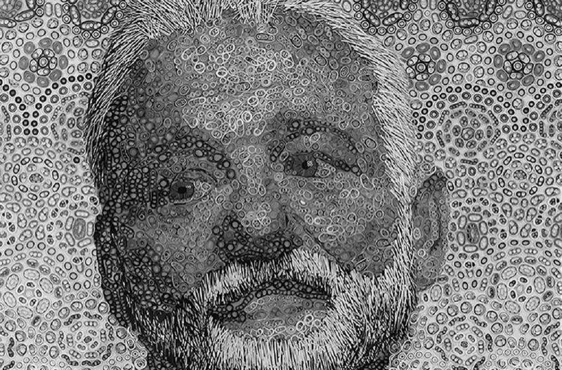 Художник создал портрет Билла Мюррея из винила (4фото+1видео)