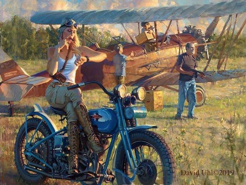 Мотоциклы Harley-Davidson и красивые девушки на ностальгических картинах Дэвида Уля (30фото)