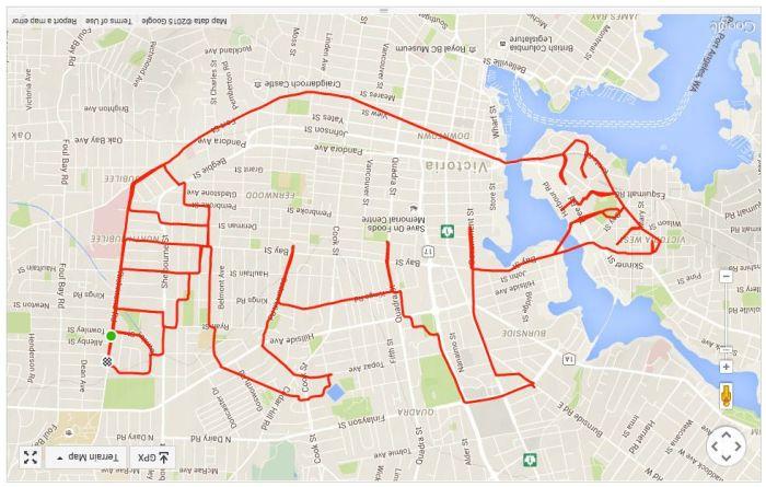 Художник создает прикольные рисунки с помощью велосипеда и GPS-трекера (9 картинок)