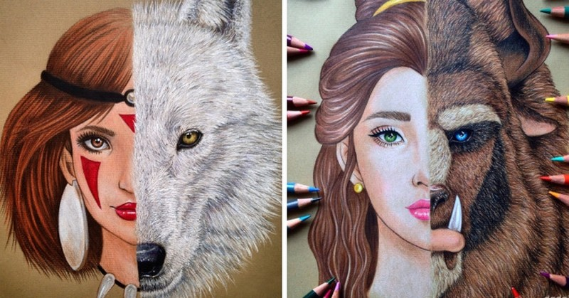 Девушка рисует цветными карандашами оригинальные портреты персонажей мультфильмов (8фото)