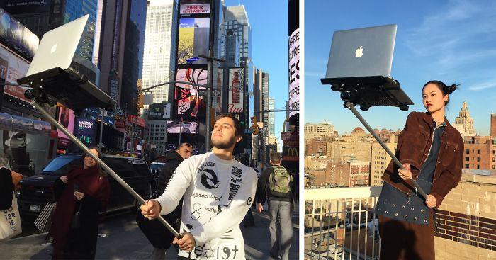 Молодые художники поразили Нью-Йорк селфи-палкой для MacBook (8фото)