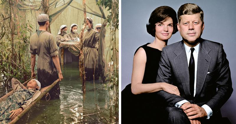 Художница раскрашивает старые черно-белые снимки и оживляет историю на наших глазах (21фото)