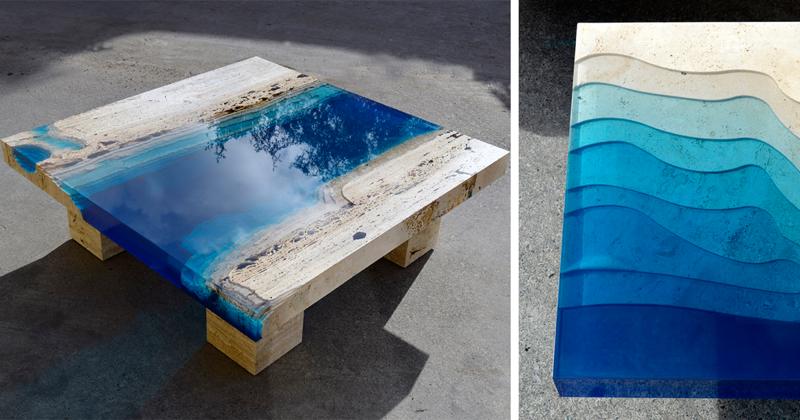 Уникальные столы из травертина и смолы, напоминающие лагуны (11фото)
