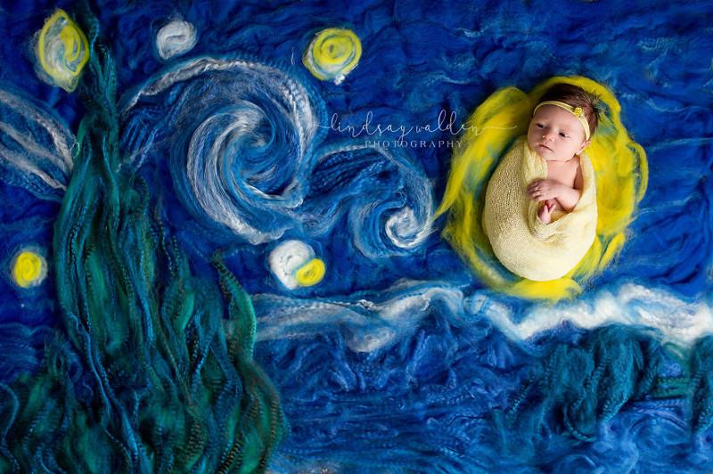 Фотограф снимает новорожденных, конструируя фон по мотивам шедевров мировой живописи (6фото)