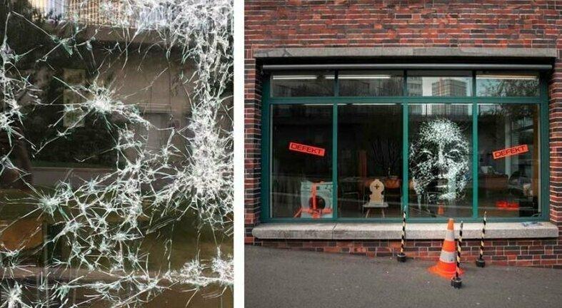 Художник аккуратно разбил витрину, чтобы создать женский портрет (7фото)