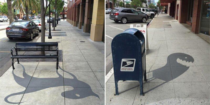 Уличный художник дорисовывает необычные тени городским объектам (21фото)