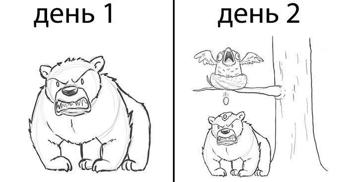 Все начинается с медведя: художник дорисовывал каждый день по одному персонажу, и вот что получилось (20фото)