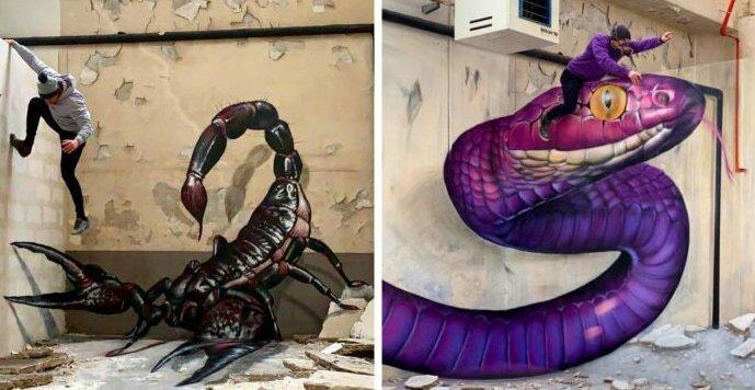 20 граффити от французского мастера, чьи змеи, скорпионы и динозавры выглядят живее всех живых (23фото)