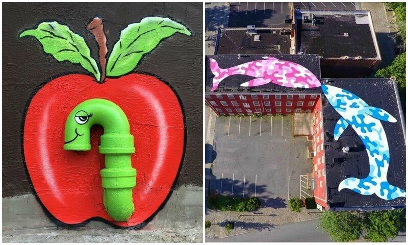 Художник оживляет городскую серость креативным стрит-артом (24фото)