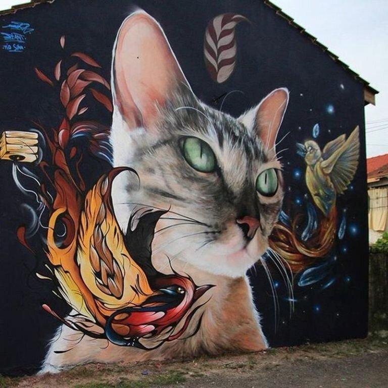 Кошки в мире граффити (35фото)