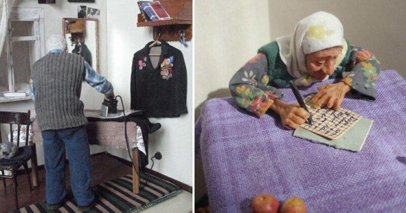 Бабушка рядышком с дедушкой: российская мастерица создает самые трогательные в мире микромиры (13фото)