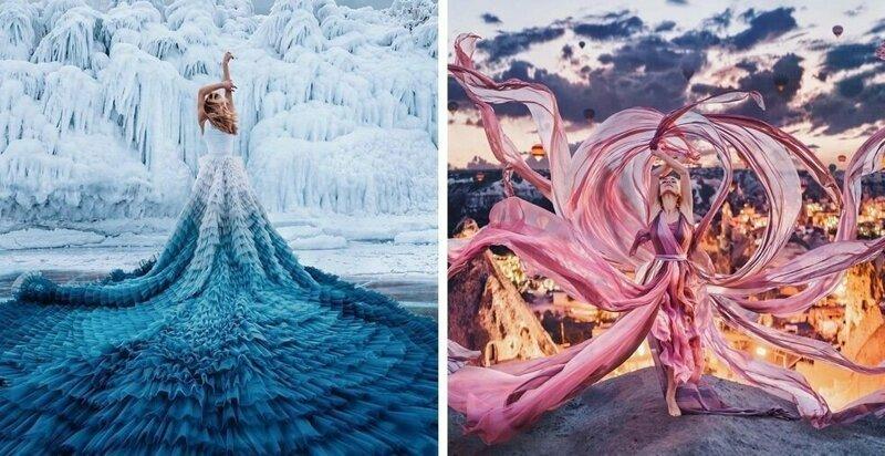Фотограф снимает девушек в платьях на фоне шикарных видов, и её работы выглядят как сказка наяву (26фото)