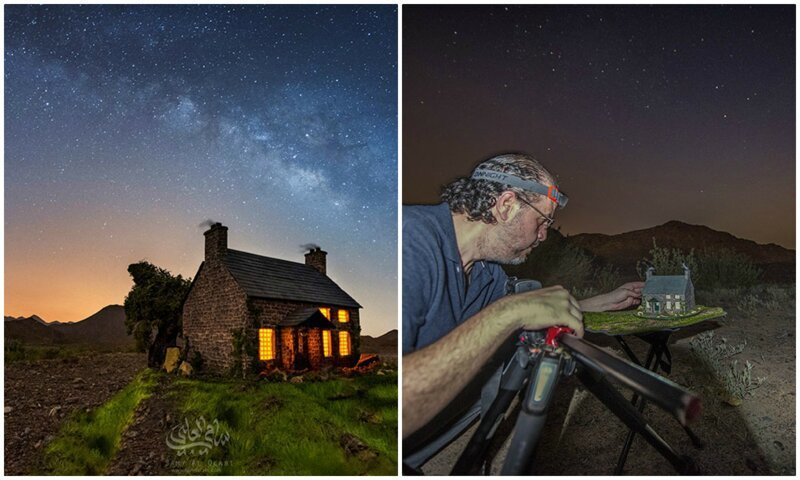 Волшебство: миниатюрные домики на фоне звездного неба (21фото)