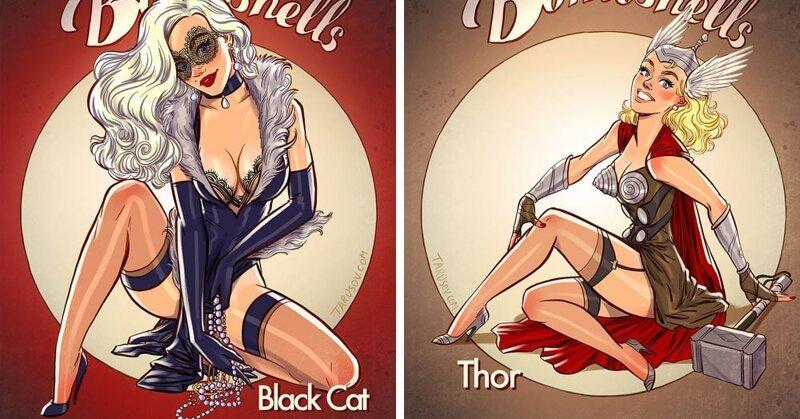 Художник добавил героиням комиксов Марвел немного пикантности, превратив их в роковых красоток (22фото)