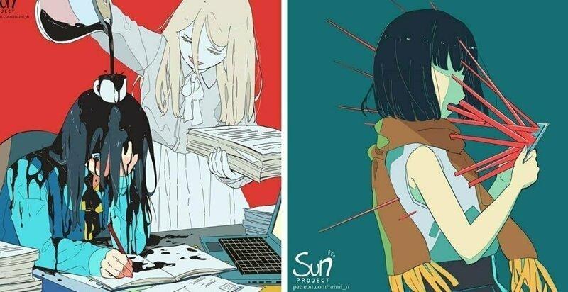 20 иллюстраций от художницы из Индонезии, которая показывает тёмную сторону современного общества (21фото)
